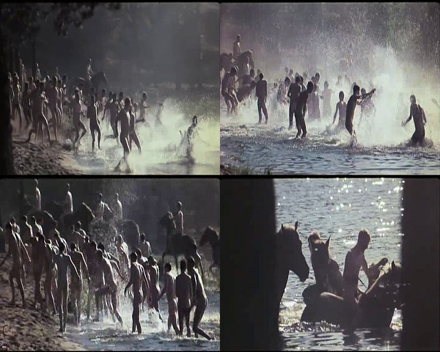 naked soldiers swimming in the river