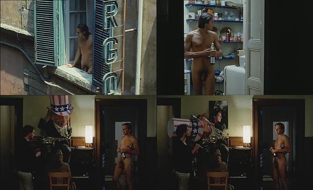 nude man walking at home in movie